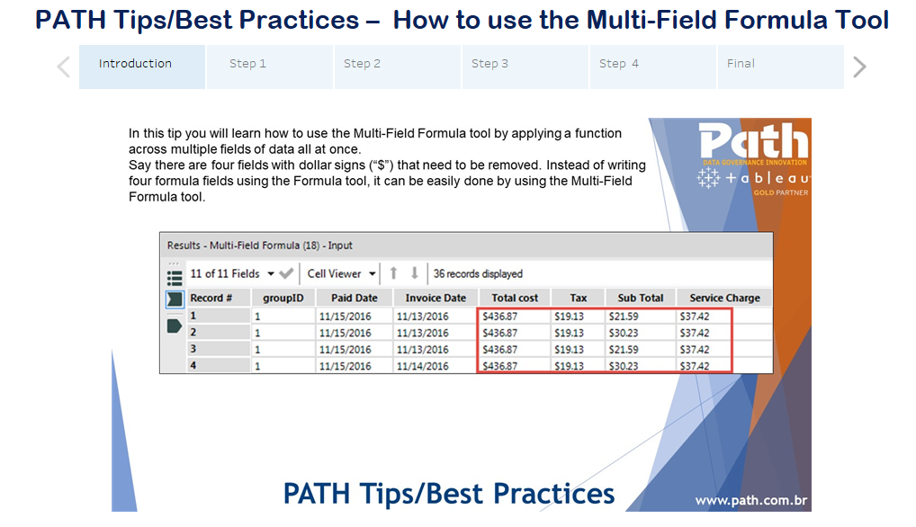 PATH Tips/Best Practices –  How to use the Multi-Field Formula Tool